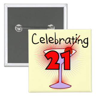 Cocktail Celebrating 21 Tshirts and Gifts 15 Cm Square Badge