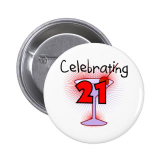 Cocktail Celebrating 21 Tshirts and Gifts 6 Cm Round Badge