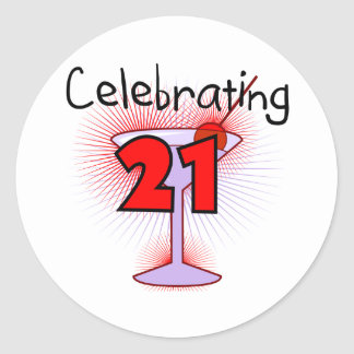Cocktail Celebrating 21 Tshirts and Gifts Round Sticker
