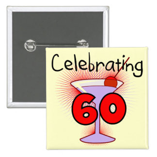 Cocktail Celebrating 60 Tshirts and Gifts 15 Cm Square Badge