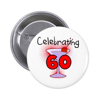 Cocktail Celebrating 60 Tshirts and Gifts 6 Cm Round Badge