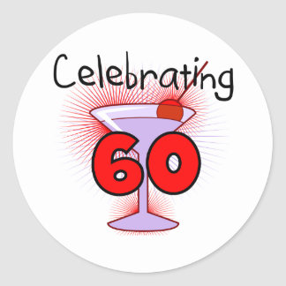 Cocktail Celebrating 60 Tshirts and Gifts Round Sticker