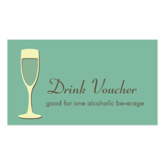 Cocktail champagne glass event green drink ticket business card template