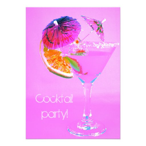 Cocktail decorated with cocktail umbrellas invitations