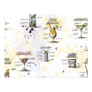 Cocktail Drink Recipe Design Postcard