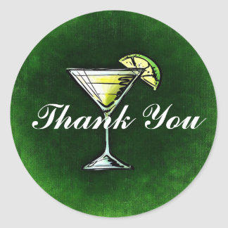 Cocktail Gin and tonic Thank You Round Sticker