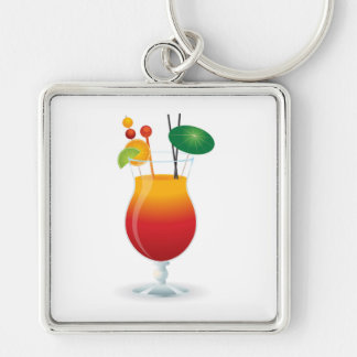 COCKTAIL GLASS Silver-Colored SQUARE KEY RING