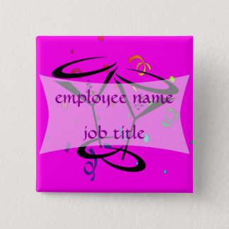 Cocktail Glasses Employee Name Tag 15 Cm Square Badge