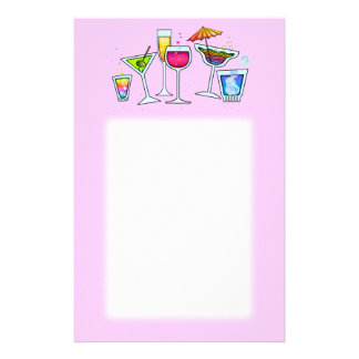 COCKTAIL GLASSES STATIONERY IN PINK