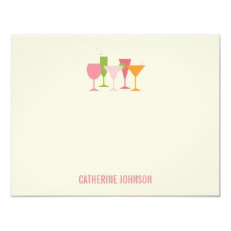 Cocktail Glasses Thank You Cards 11 Cm X 14 Cm Invitation Card
