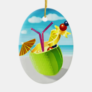 Cocktail in a Coconut Christmas Ornament