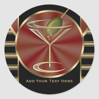 Cocktail Lounge Classic Round Sticker