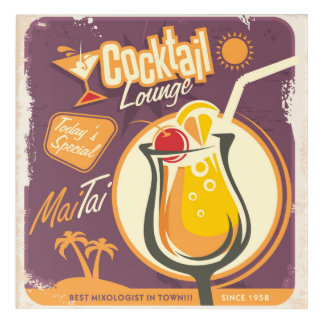 Cocktail Lounge Poster Acrylic Wall Art