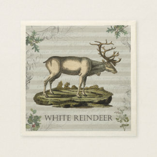 Cocktail napkin with White Reindeer Disposable Serviette