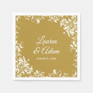 Cocktail Napkins | Romance (Gold) Dark Disposable Napkin
