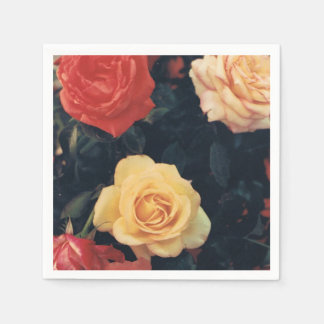 Cocktail Napkins with Roses Disposable Serviettes
