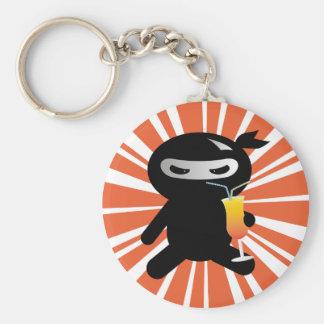 Cocktail Ninja Basic Round Button Key Ring