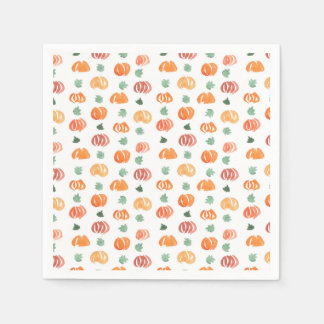 Cocktail paper napkins with pumpkins and leaves
