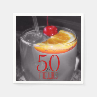 Cocktail Party 50th Birthday | 50 & Fabulous Disposable Napkins