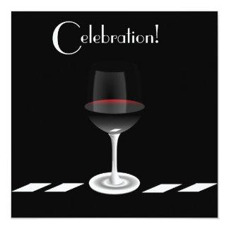 Cocktail Party Celebration in Black and White 13 Cm X 13 Cm Square Invitation Card