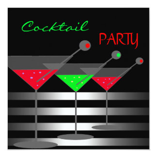 Cocktail Party Cocktails Drinks Martini Red Green 13 Cm X 13 Cm Square Invitation Card