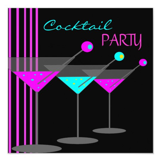 Cocktail Party Cocktails Drinks Martini Teal Pink Card
