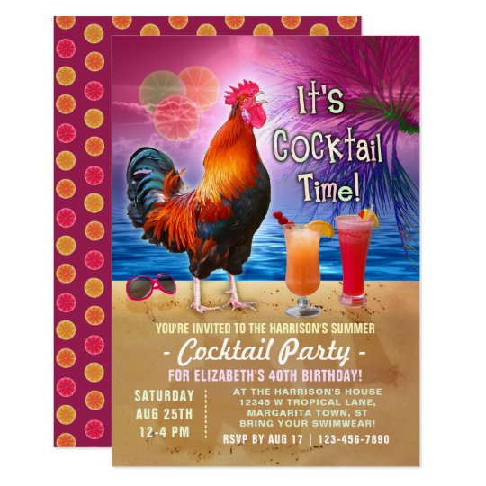 Cocktail Party Tropical Rooster Funny Birthday Card