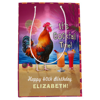 Cocktail Party Tropical Rooster Funny Birthday Medium Gift Bag