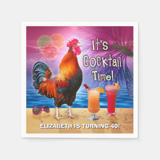 Cocktail Party Tropical Rooster Funny Birthday Paper Napkin