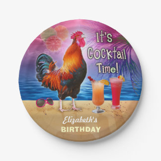 Cocktail Party Tropical Rooster Funny Birthday Paper Plate