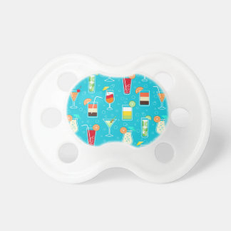 Cocktail Pattern on Teal Background Baby Pacifier