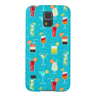 Cocktail Pattern on Teal Background Galaxy S5 Covers