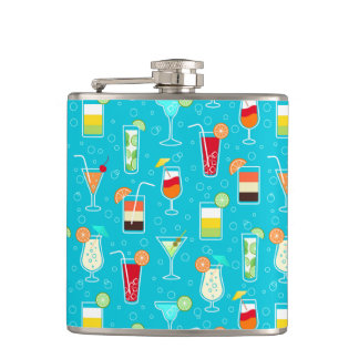 Cocktail Pattern on Teal Background Hip Flask