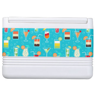 Cocktail Pattern on Teal Background Igloo Cool Box