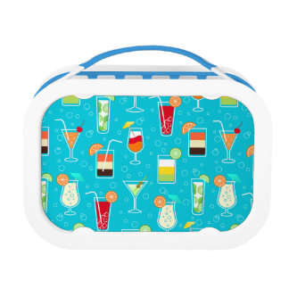Cocktail Pattern on Teal Background Lunch Box