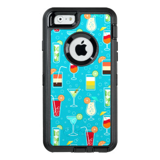 Cocktail Pattern on Teal Background OtterBox iPhone 6/6s Case