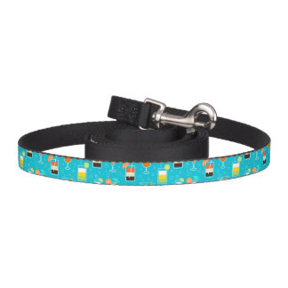 Cocktail Pattern on Teal Background Pet Lead