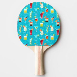 Cocktail Pattern on Teal Background Ping Pong Paddle