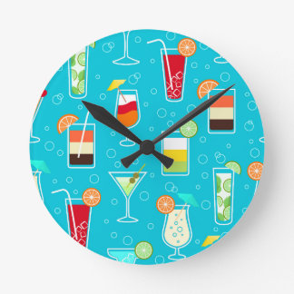 Cocktail Pattern on Teal Background Round Clock