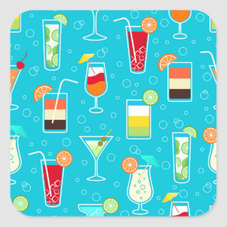 Cocktail Pattern on Teal Background Square Sticker