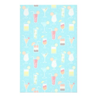 Cocktail Pattern on Teal Background Stationery