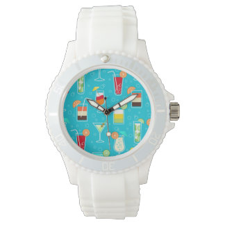 Cocktail Pattern on Teal Background Watch