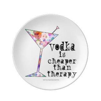 COCKTAIL PLATES, VODKA IS CHEAPER THAN THERAPY PLATE