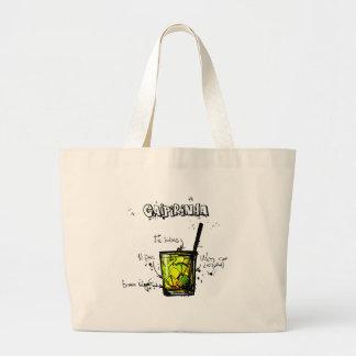 Cocktail Recipe Caipirinia Large Tote Bag