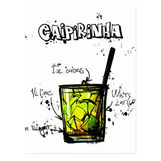 Cocktail Recipe Caipirinia Postcard