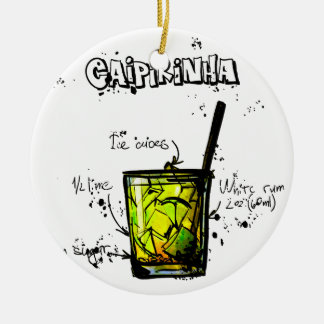 Cocktail Recipe Caipirinia Round Ceramic Decoration