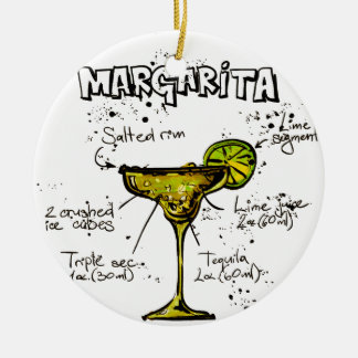 Cocktail Recipe Margarita Christmas Ornament