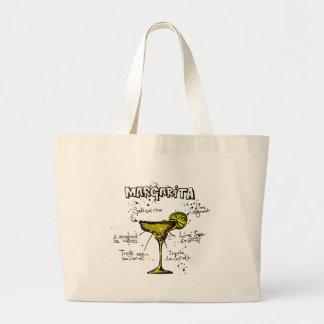 Cocktail Recipe Margarita Large Tote Bag