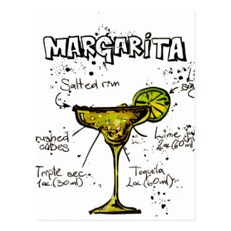 Cocktail Recipe Margarita Postcard
