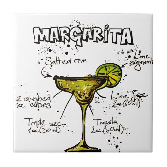 Cocktail Recipe Margarita Small Square Tile
